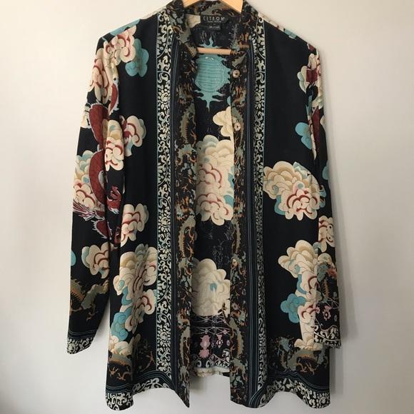 ebd38fcb86e Citron Jackets & Blazers - Citron Vintage Santa Monica Dragon Silk Kimono  Top